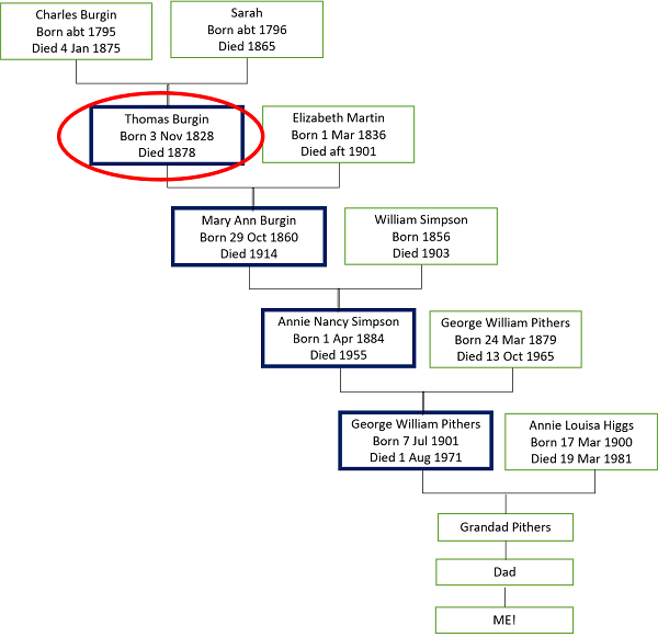 Family tree showing my descent from Thomas Burgin