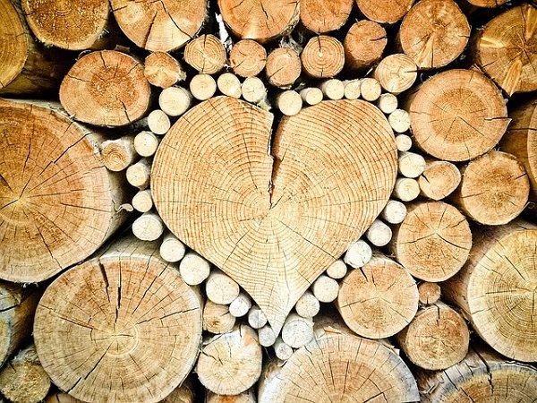 Wood in shape of heart